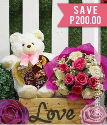 1 Dozen Pink and White Roses with Bear and Vochelle Almond Heart Box Chocolate