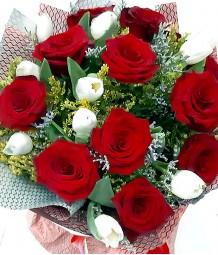 1 Dozen Red Ecuadorian Roses and 1 Dozen White Tulips