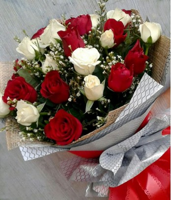 1 Dozen of Red and White Roses