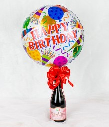 Happy Birthday Balloon with Wine