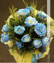 1 Dozen Blue Roses Spray (Round Bouquet)