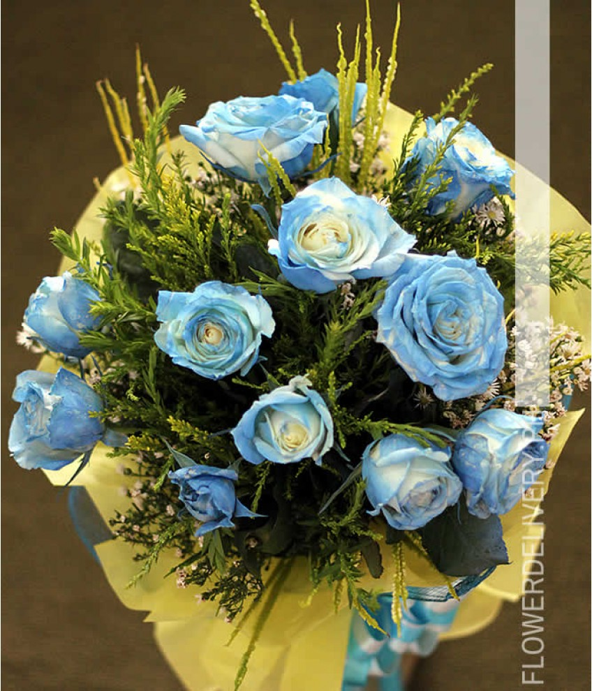 Makati flower delivery flower shop in makati 1 dozen blue roses spray round bouquet izmirmasajfo
