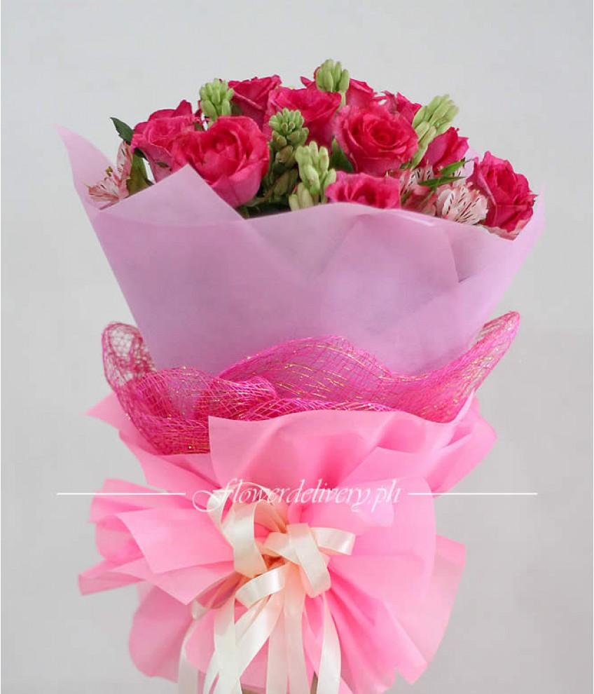 1 dozen pink roses round bouquet mightylinksfo