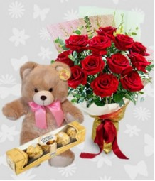 1 Dozen Red Roses with Bear and 5 pcs. Ferrero
