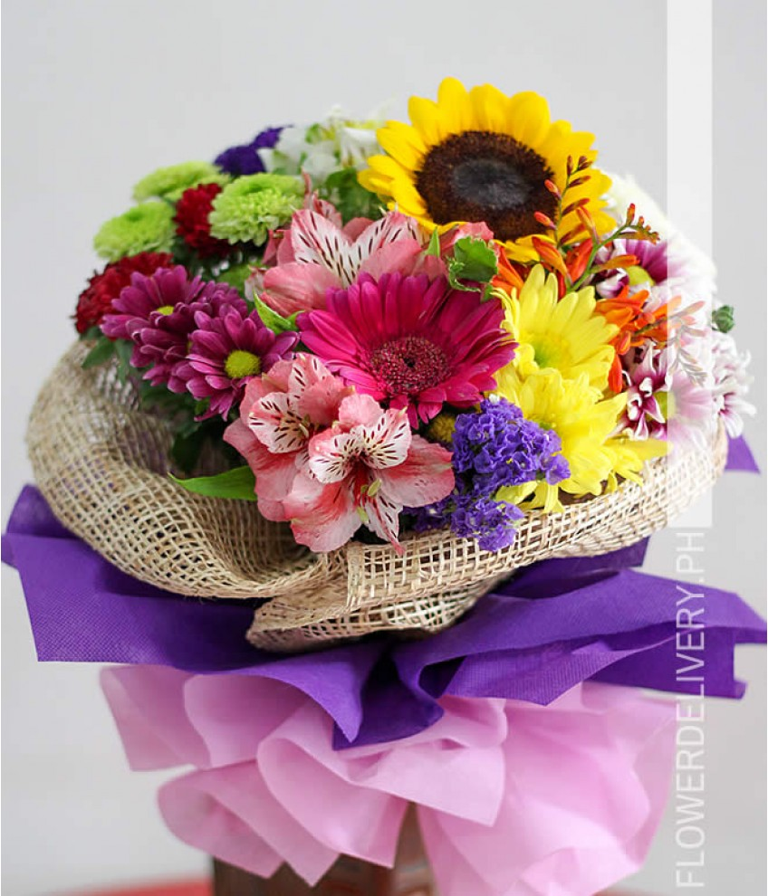 Congratulations a bouquet of mixed colorful flowers izmirmasajfo