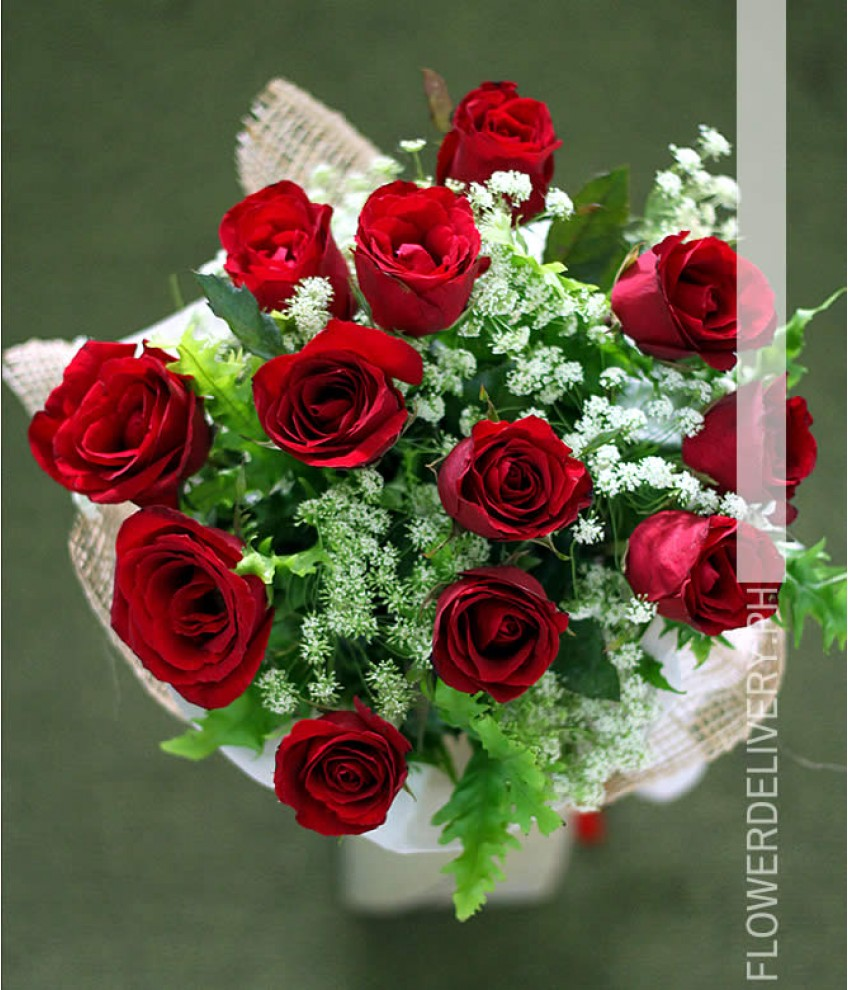 1 Dozen Red Roses Round Bouquet