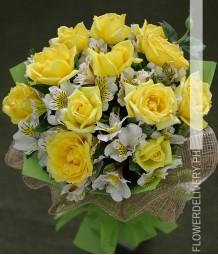 1 Dozen Yellow Roses w/ Alstroemeria (Round Bouquet)