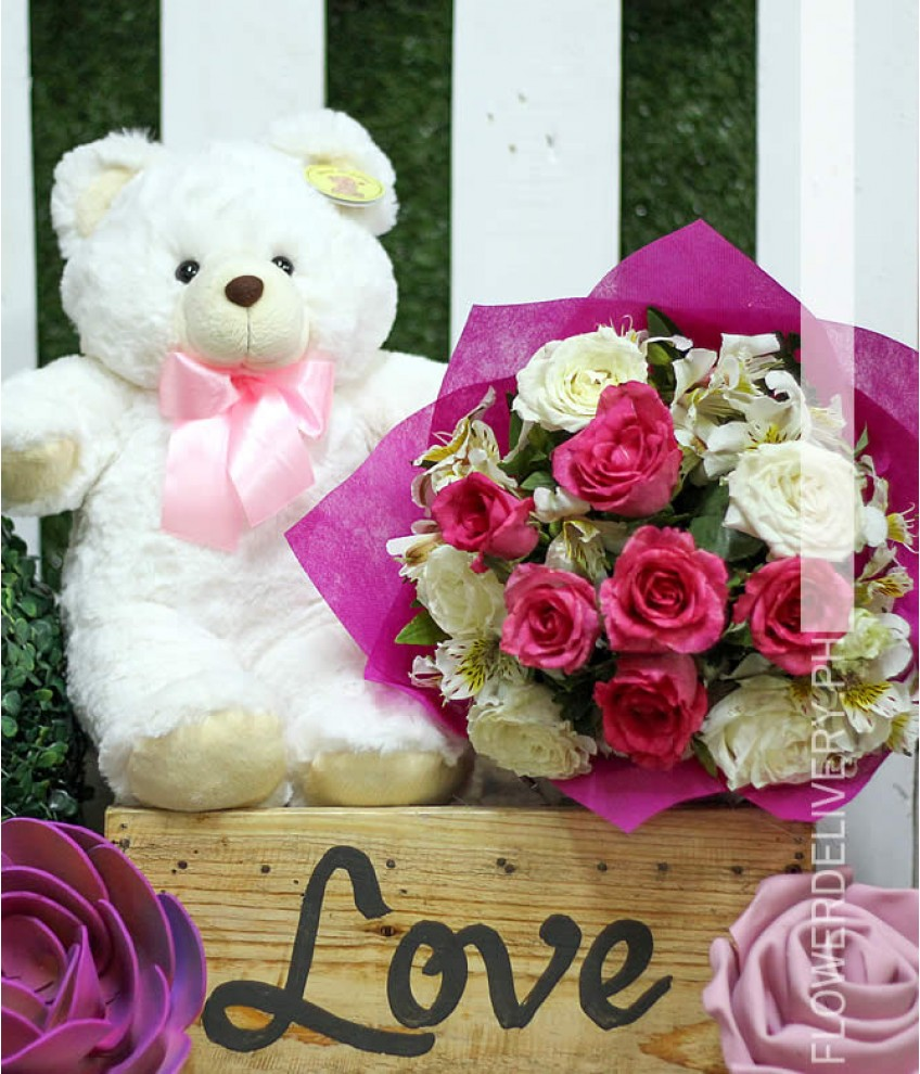 Makati flower delivery flower shop in makati 1 dozen pink and white roses with bear izmirmasajfo