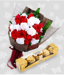 2 Dozen Mixed Red and White Roses with Ferrero
