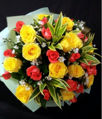 1 Dozen Imported Yellow Roses and 1 Dozen Local Peach Roses
