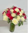 2 Dozen Red and 2 Dozen White Roses in a Vase